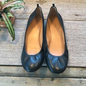 J. Crew black leather Lizzie ballet flats size 9